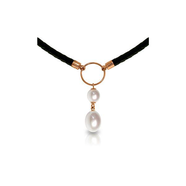 Genuine 6 ctw Pearl Necklace 14KT Rose Gold - REF-47A8K