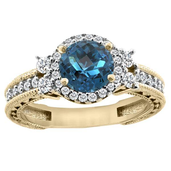 1.46 CTW London Blue Topaz & Diamond Ring 14K Yellow Gold - REF-77N9Y