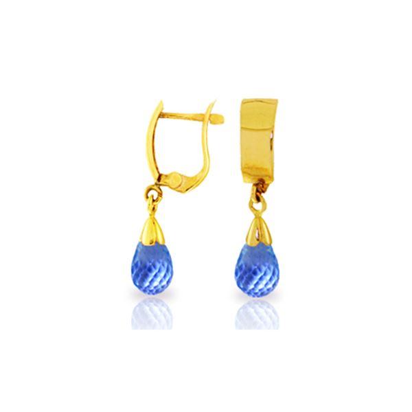 Genuine 2.5 ctw Blue Topaz Earrings 14KT Yellow Gold - REF-22N3R