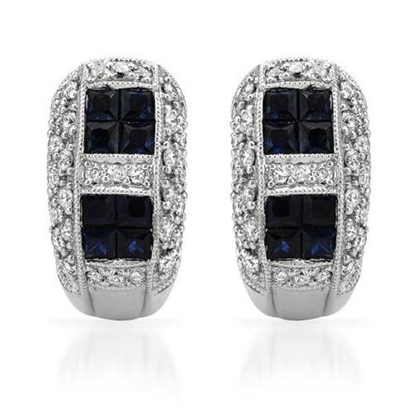 Natural 1.88 CTW Sapphire & Diamond Earrings 14K White Gold - REF-111N6Y