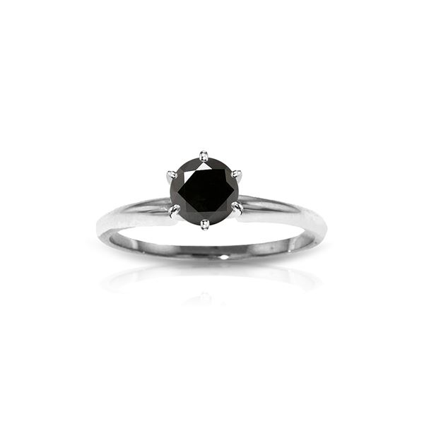 Genuine 1.0 ctw Black Diamond Ring 14KT White Gold - REF-81A2K