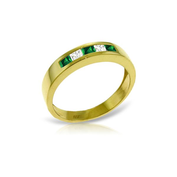 Genuine 0.63 ctw Emerald & White Topaz Ring 14KT Yellow Gold - REF-49M2T