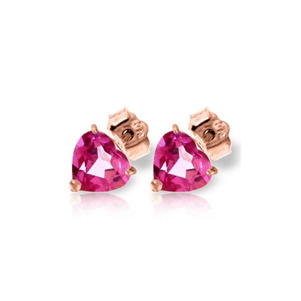 Genuine 3.25 ctw Pink Topaz Earrings 14KT Rose Gold - REF-20T4A