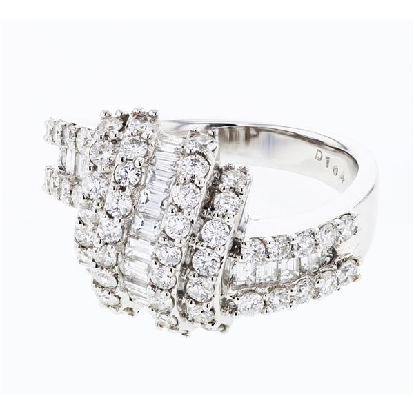 Natural 1.58 CTW Diamond & Baguette Ring 18K White Gold - REF-219N6Y