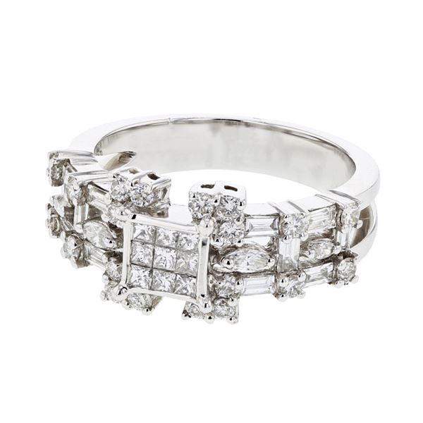 Natural 1.38 CTW Diamond & Baguette Ring 14K White Gold - REF-176T4X