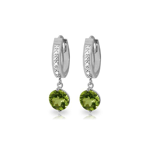 Genuine 2.63 ctw Peridot & Diamond Earrings 14KT White Gold - REF-56T2A