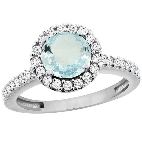 1.13 CTW Aquamarine & Diamond Ring 14K White Gold - REF-54X5M