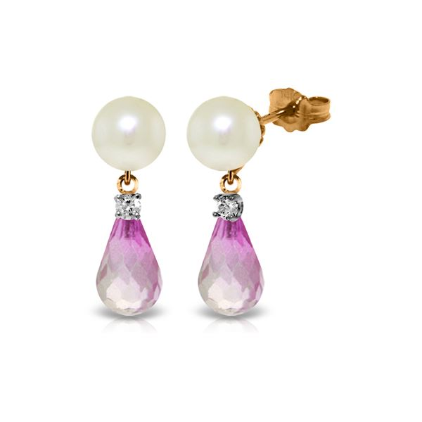 Genuine 6.6 ctw Pink Topaz & Diamond Earrings 14KT Rose Gold - REF-27T6A