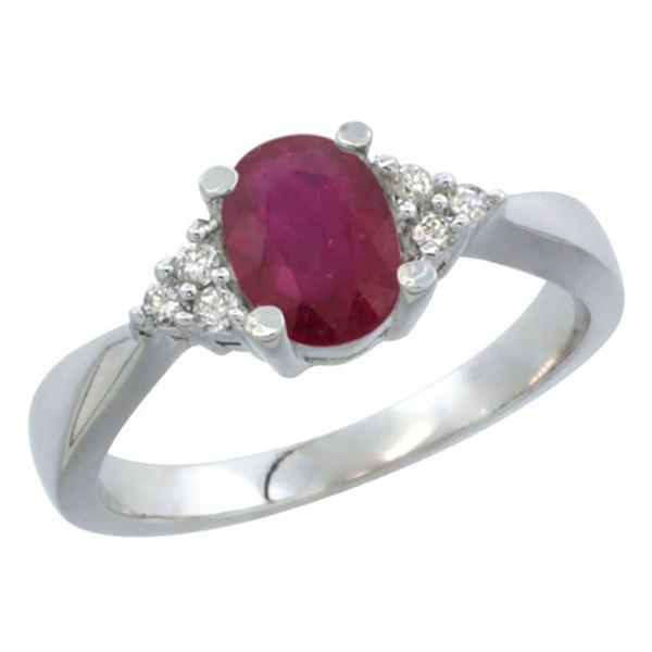 1.44 CTW Ruby & Diamond Ring 10K White Gold - REF-29V4R