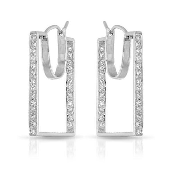 Natural 0.56 CTW Diamond Earrings 14K White Gold - REF-72N9Y