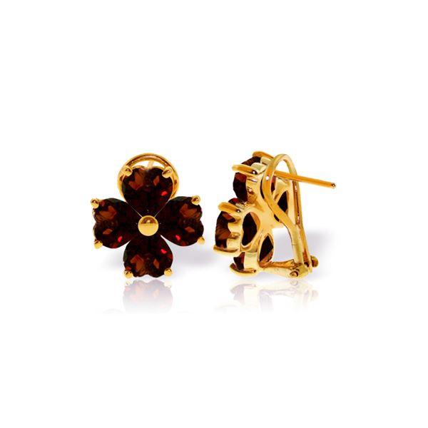Genuine 6.5 ctw Garnet Earrings 14KT Yellow Gold - REF-79Z7N