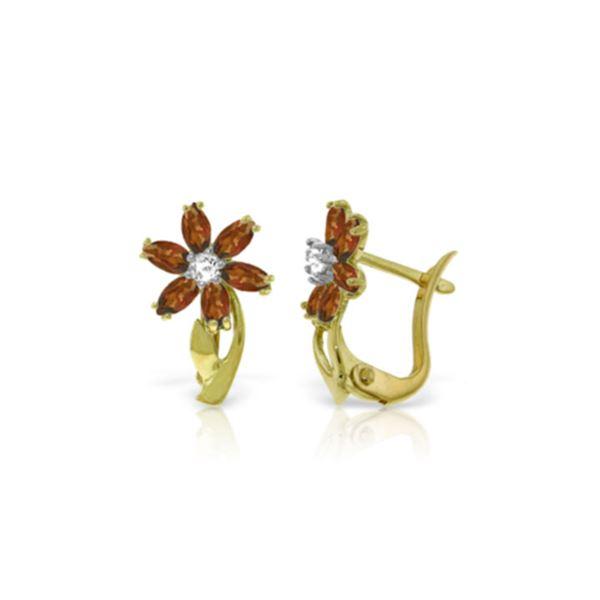 Genuine 1.10 ctw Garnet & Diamond Earrings 14KT Yellow Gold - REF-36Y3F