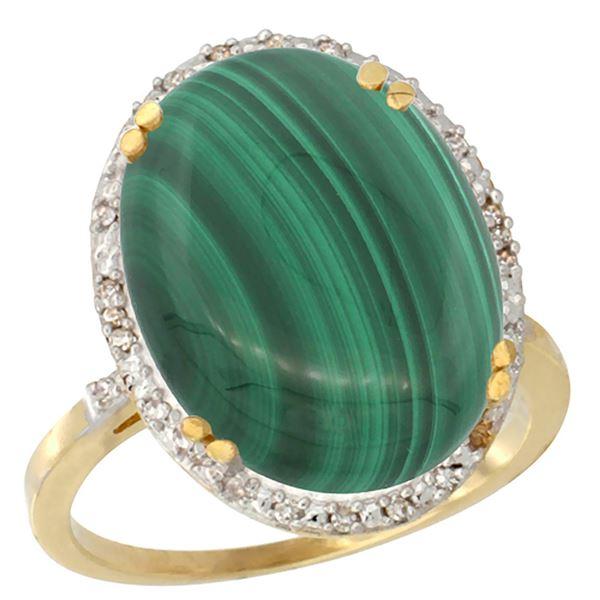 14.15 CTW Malachite & Diamond Ring 10K Yellow Gold - REF-42H6M