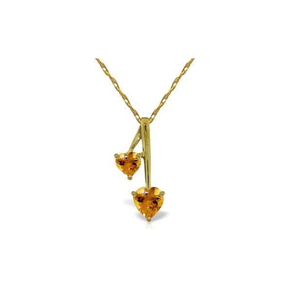 Genuine 1.40 ctw Citrine Necklace 14KT Yellow Gold - REF-23V8W