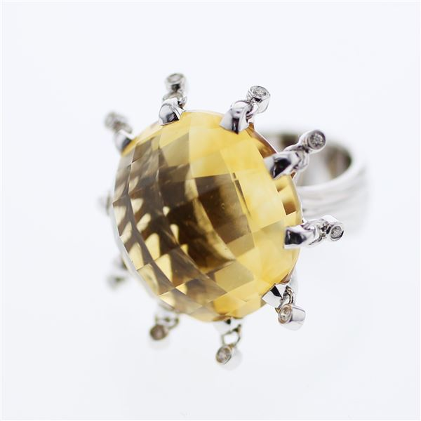 Natural 36.59 CTW Citrine & Diamond Ring 14K White Gold - REF-182N7Y