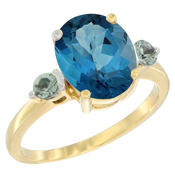 2.64 CTW London Blue Topaz & Green Sapphire Ring 14K Yellow Gold - REF-32M8K