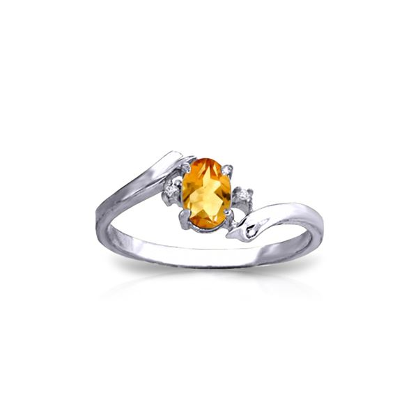 Genuine 0.46 ctw Citrine & Diamond Ring 14KT White Gold - REF-28Y3F