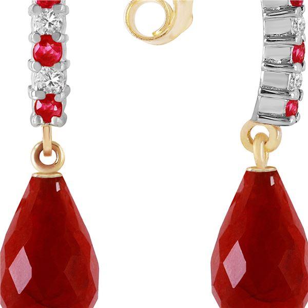 Genuine 6.9 ctw Ruby & Diamond Earrings 14KT Yellow Gold - REF-35N2R