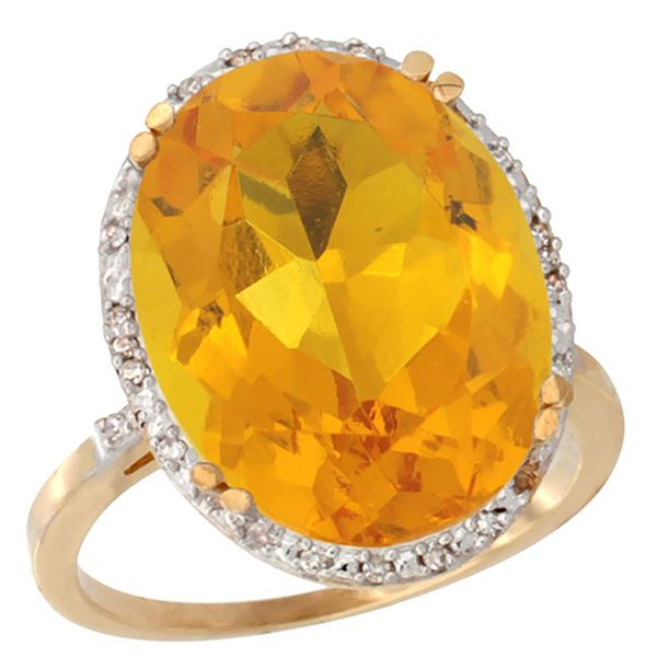 13.71 CTW Citrine & Diamond Ring 10K Yellow Gold - REF-57V6R