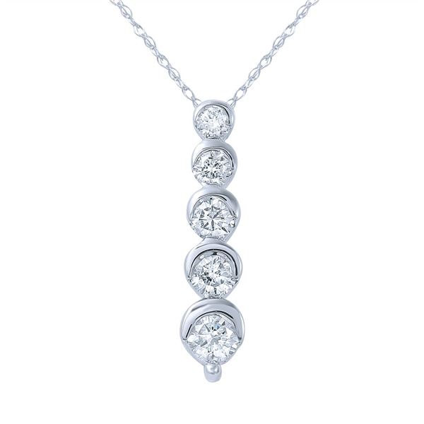 Natural 0.53 CTW Diamond Necklace 14K White Gold - REF-72W2H