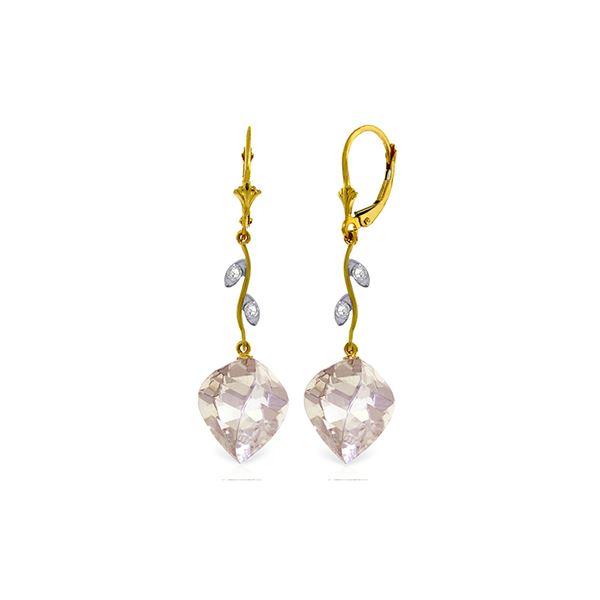 Genuine 25.62 ctw White Topaz & Diamond Earrings 14KT Yellow Gold - REF-65X3M