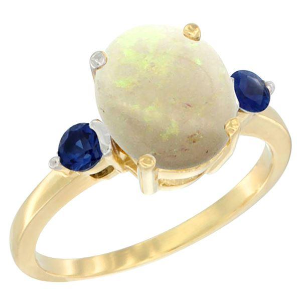 1.65 CTW Opal & Blue Sapphire Ring 10K Yellow Gold - REF-24M2A