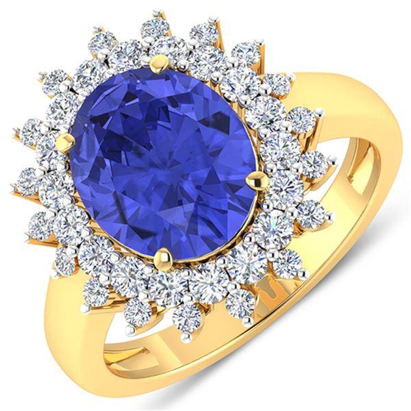 Natural 4.54 CTW Tanzanite & Diamond Ring 14K Yellow Gold - REF-157H5M