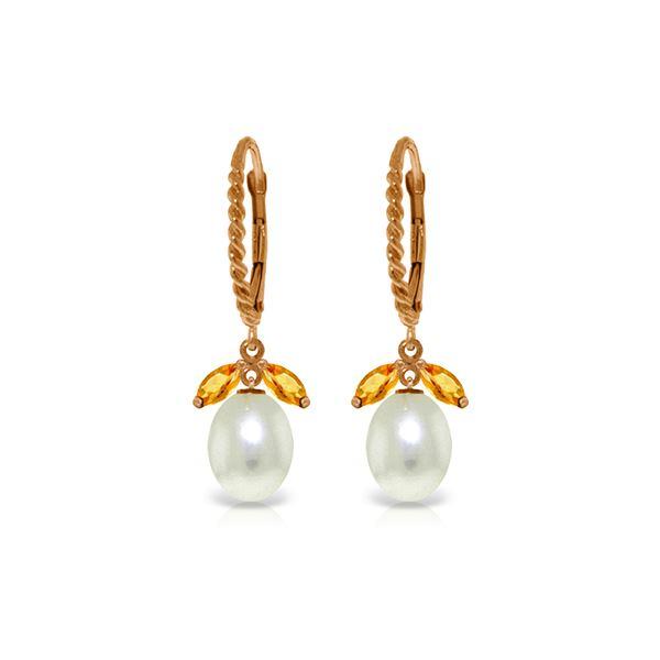 Genuine 9 ctw Citrine & Pearl Earrings 14KT Rose Gold - REF-39Z3N