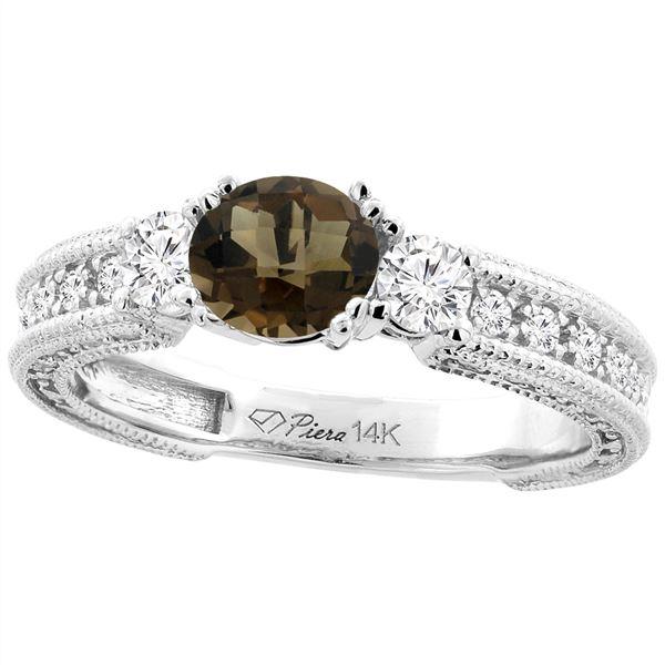 1.55 CTW Quartz & Diamond Ring 14K White Gold - REF-85N5Y