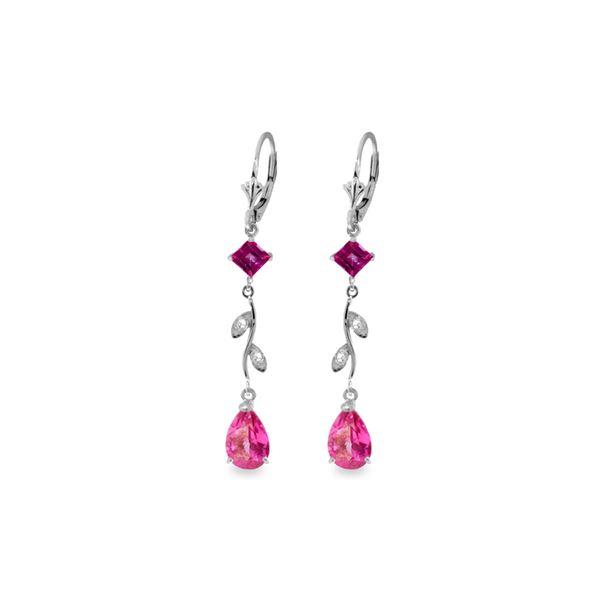 Genuine 3.97 ctw Pink Topaz & Diamond Earrings 14KT White Gold - REF-46A2K
