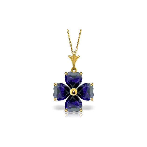 Genuine 3.6 ctw Sapphire Necklace 14KT Yellow Gold - REF-52W2Y