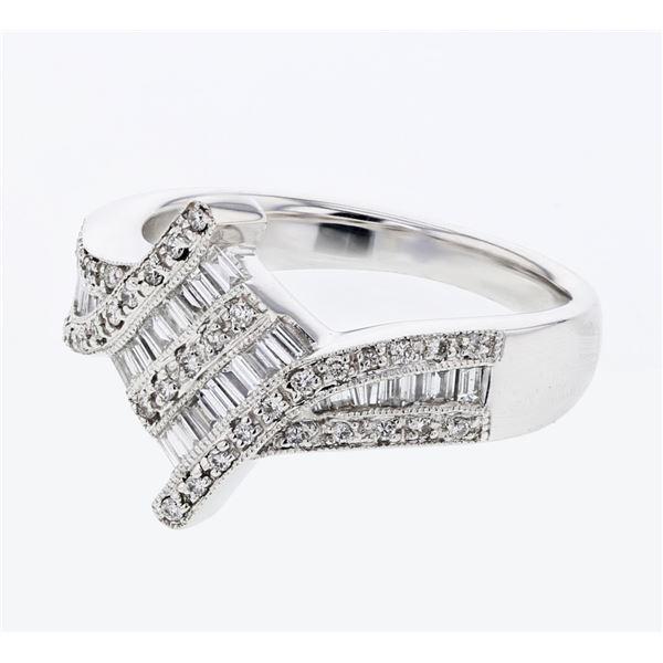 Natural 0.54 CTW Baguette & Diamond Ring 18K White Gold - REF-126W9H