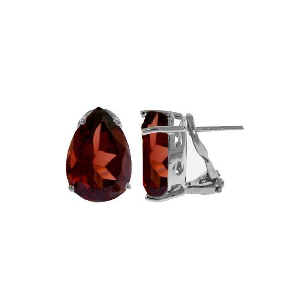 Genuine 10 ctw Garnet Earrings 14KT White Gold - REF-61V2W