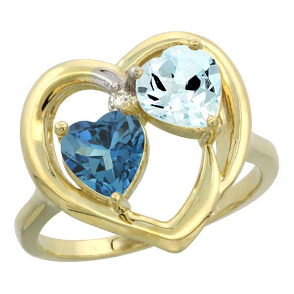 2.61 CTW Diamond, London Blue Topaz & Aquamarine Ring 10K Yellow Gold - REF-28V2R