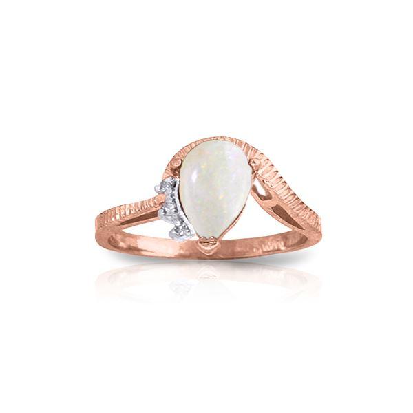 Genuine 0.79 ctw Opal & Diamond Ring 14KT Rose Gold - REF-52F3Z