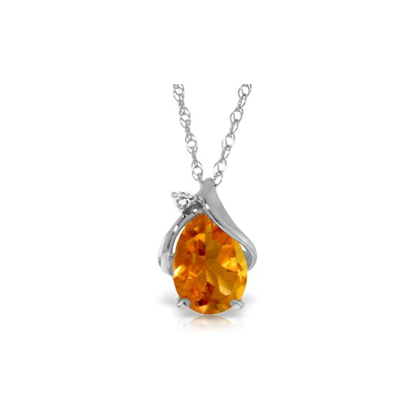 Genuine 1.63 ctw Citrine & Diamond Necklace 14KT White Gold - REF-28K3V