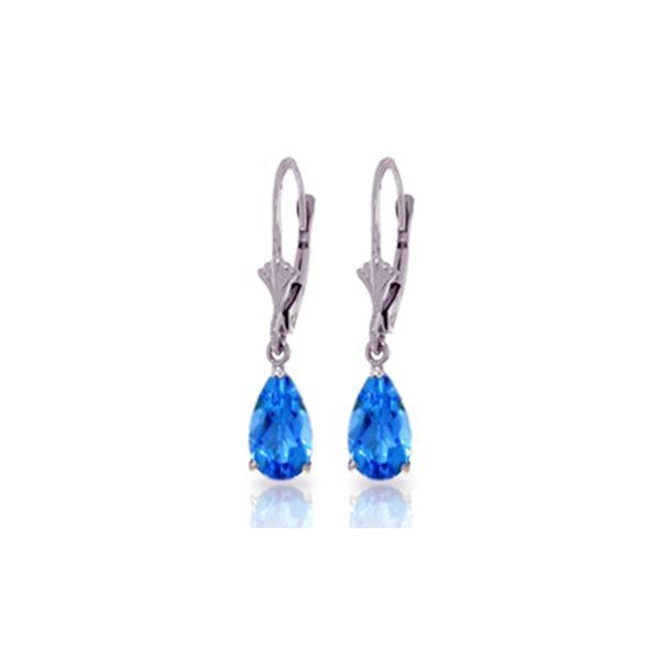 Genuine 3.77 ctw Blue Topaz Earrings 14KT White Gold - REF-30F2Z