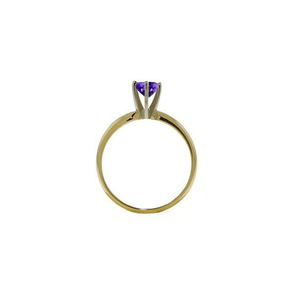 Genuine 0.65 ctw Amethyst Ring 14KT White Gold - REF-26V9W