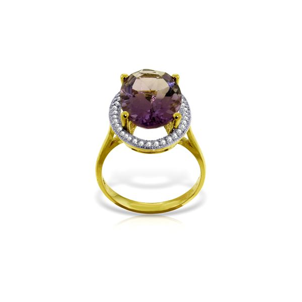 Genuine 5.28 ctw Amethyst & Diamond Ring 14KT Yellow Gold - REF-83A3K