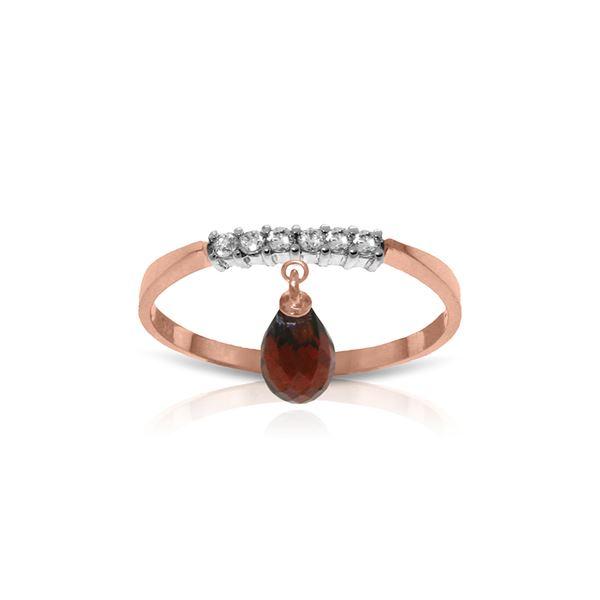 Genuine 1.45 ctw Garnet & Diamond Ring 14KT Rose Gold - REF-34X3M