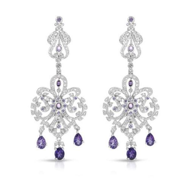 Natural 3.11 CTW Amethyst & Diamond Earrings 18K White Gold - REF-216T2X