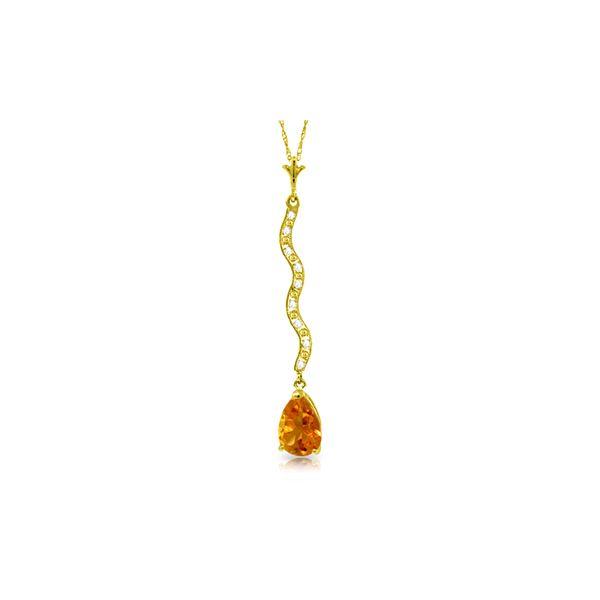 Genuine 1.79 ctw Citrine & Diamond Necklace 14KT Yellow Gold - REF-34P6H