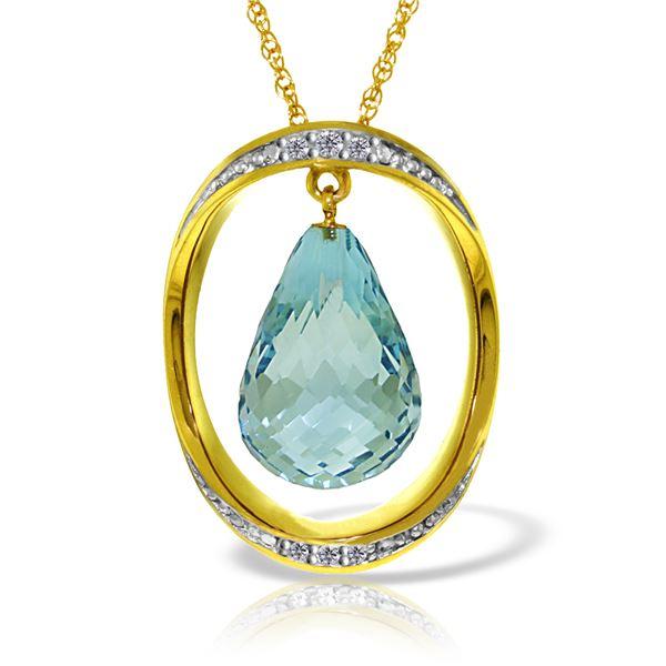 Genuine 11.60 ctw Blue Topaz & Diamond Necklace 14KT Yellow Gold - REF-112F2Z