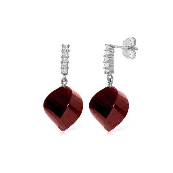 Genuine 30.65 ctw Ruby & Diamond Earrings 14KT White Gold - REF-59M9T