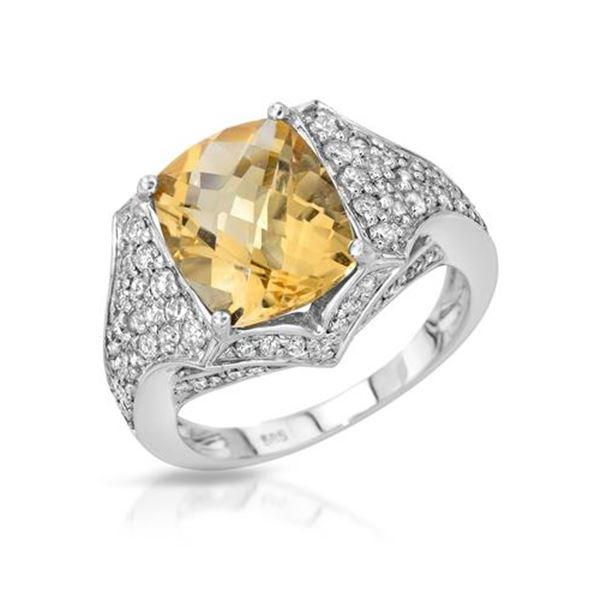 Natural 4.71 CTW Citrine & Diamond Ring 14K White Gold - REF-79N2Y