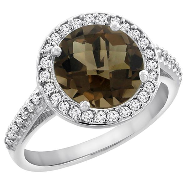 2.44 CTW Quartz & Diamond Ring 14K White Gold - REF-56M2K