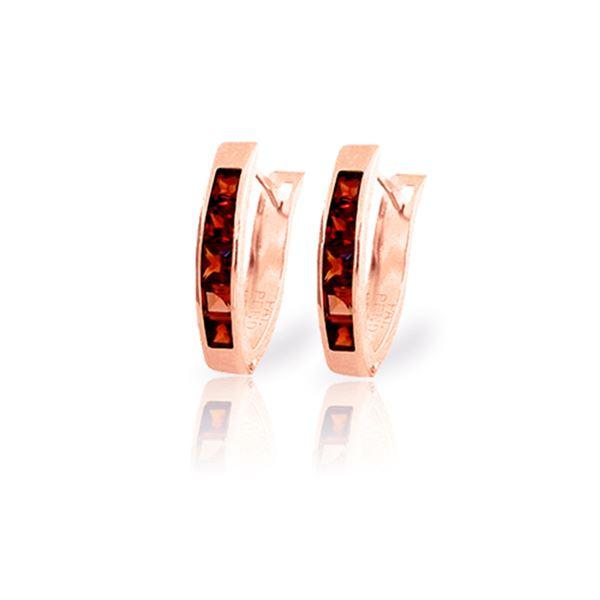 Genuine 1.30 ctw Garnet Earrings 14KT Rose Gold - REF-25Z3N