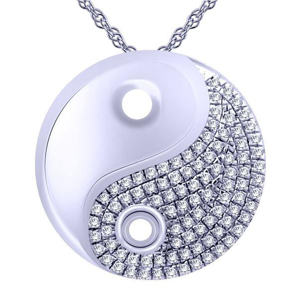 Natural 0.14 CTW Diamond Necklace 14K White Gold - REF-31K5R