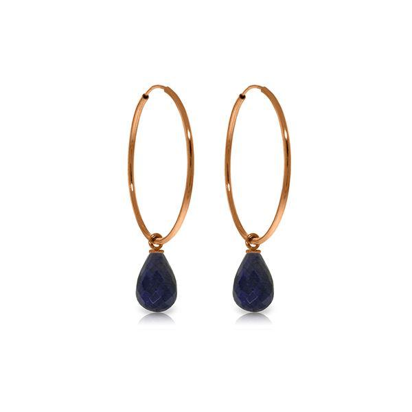 Genuine 6.6 ctw Sapphire Earrings 14KT Rose Gold - REF-26K7V