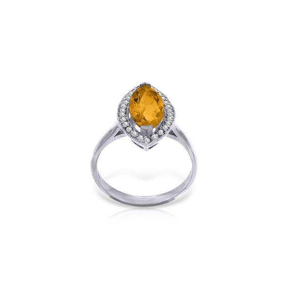 Genuine 1.80 ctw Citrine & Diamond Ring 14KT White Gold - REF-70W5Y